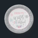 "Winter ONEderland Pink And Silver Paper Plate<br><div class=""desc"">Winter ONEderland Pink And Silver 7"" Paper Plates The Glitter effect within this design is a digital image made to look like real glitter. High quality and still gorgeous, but no actual real glitter will be used in the making of this product. All designs are © PIXEL PERFECTION PARTY LTD...</div>"