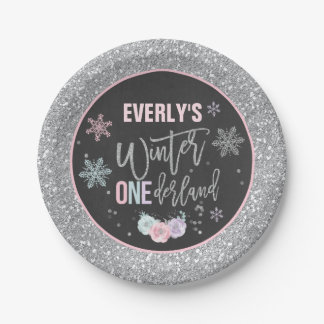 Winter ONEderland Pink And Silver Paper Plate  sc 1 st  Zazzle & Silver And Pink Plates | Zazzle