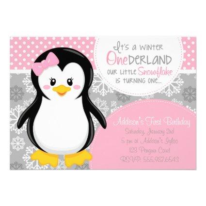 Winter ONEderland Pink Penguin Invitation