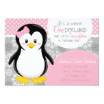 Winter Onederland Pink Penguin Invitation at Zazzle