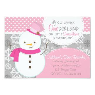 "Winter ONEderland Pink Snowman Invitation 5"" X 7"" Invitation Card"