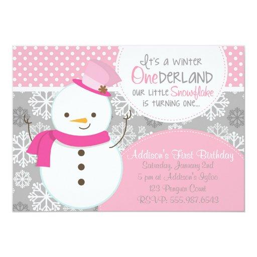 Winter ONEderland Pink Snowman Invitation (front side)