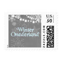 Winter onederland Postage Stamps Snowflakes Blue