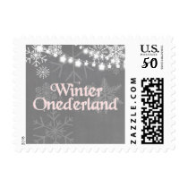 Winter onederland Postage Stamps Snowflakes Pink