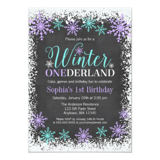 Winter ONEderland Purple Chalkboard 1st Birthday Card