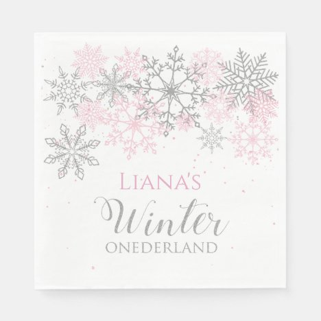Winter Onederland Silver and Pink Napkin