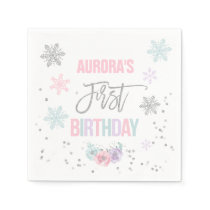 Winter ONEderland Silver Birthday Party Napkin