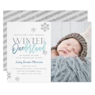 Winter ONEderland Silver Blue 1st Birthday Photo Invitation