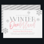 """Winter ONEderland Silver Glitter Pink 1st Birthday Invitation<br><div class=""""desc"""">Is your little snowflake one turning one? Celebrate this special milestone with this stylish and modern winter ONEderland themed birthday party invitation. Featuring chic handlettered script typography and faux silver glitter snowflakes. Modern, bright and colorful. Fully customizable; simply add the details of your event by using the text templates provided....</div>"""