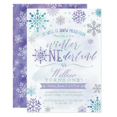 Blue Purple Watercolor Flowers Wedding Card – Snowflake Birthday Invitations