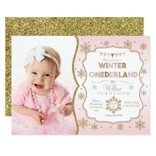 Winter Onederland Snowflake Birthday Invitation   Zazzle