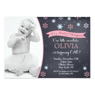 Winter Onederland Snowflake Birthday Invitations