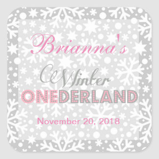 Winter ONEderland Snowflake Party Favor Labels Square Sticker