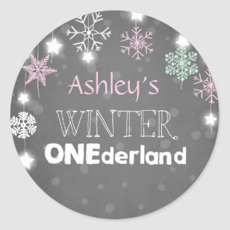 Winter onederland Snowflakes Envelope seal pink