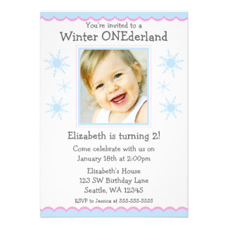 Winter Onederland Snowflakes Photo Birthday Party Announcements