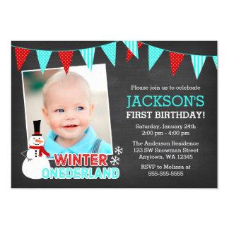 Winter Onederland Snowman Boy 1st Birthday Card
