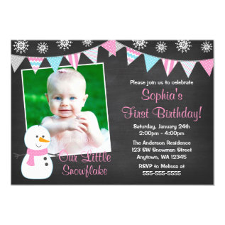 Winter Onederland Snowman Chalkboard 1st Birthday Card at Zazzle