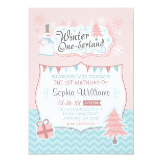 Winter Onederland Snowman Girl 1st Birthday Card at Zazzle