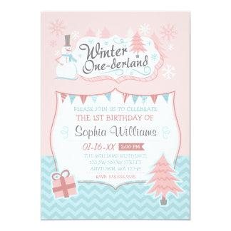 "Winter Onederland Snowman Girl 1st Birthday 5"" X 7"" Invitation Card"