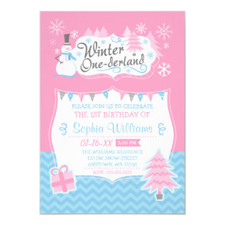 Winter Onederland Snowman Pink Blue 1st Birthday Card at Zazzle