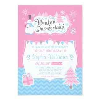 """Winter Onederland Snowman Pink Blue 1st Birthday 5"""" X 7"""" Invitation Card"""