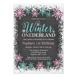 Winter ONEderland Teal Chalkboard 1st Birthday Card