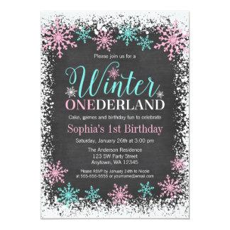 Winter ONEderland Teal Chalkboard 1st Birthday Card
