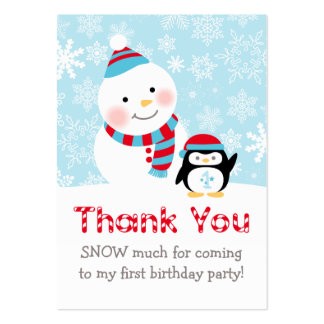 Winter ONEderland | Thank You Favor Tags Large Business Card