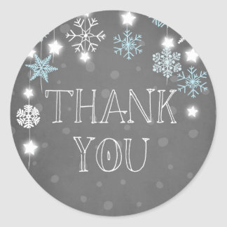 Winter onederland Thank you Snowflakes Blue Winter Classic Round Sticker