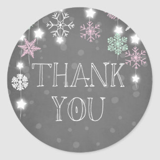 Winter onederland Thank you Snowflakes Pink Winter Classic Round Sticker
