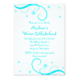 Winter ONEderland White Teal Swirl Snowflakes Card