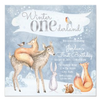 Winter Onederland Woodland First Birthday Party Invitation