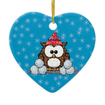 winter owl ceramic ornament