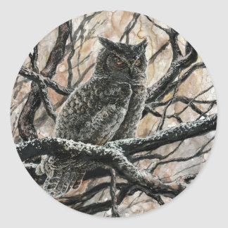 Winter Owl Classic Round Sticker