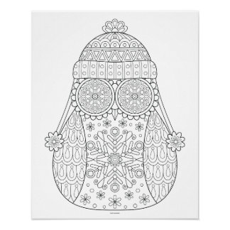 Winter Owl Coloring Poster - Colorable Owl Poster
