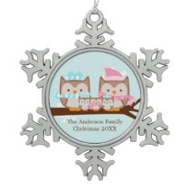 Winter Owl Family of Five Snowflake Pewter Christmas Ornament