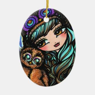 Winter Owl Forest Snow Girl Art by Hannah Lynn Ornament