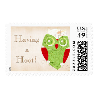 Winter Owl + Having a Hoot + Red Green White Paper Postage Stamp