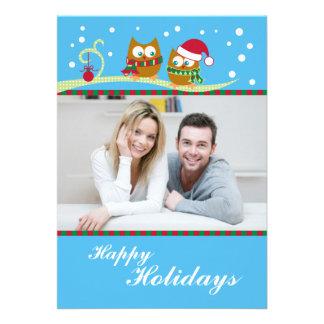 Winter Owl Holiday Photo Card Invitations