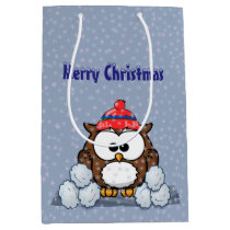 winter owl medium gift bag