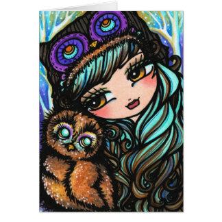 Winter Owl Snow Forest Christmas Card