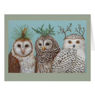 Winter Owls big greeting card