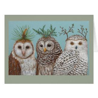 Winter Owls big greeting card