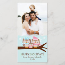 Winter Owls Family Holiday Card