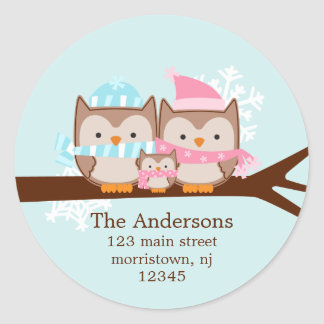 Winter Owls Family Holiday Stickers