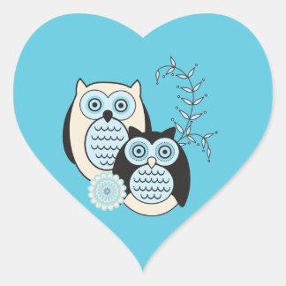 Winter Owls Heart Sticker