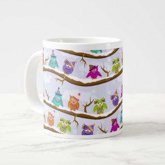 winter owls large coffee mug
