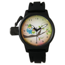 Winter Owls Lighting Crown Protector Black Rubber Wrist Watch