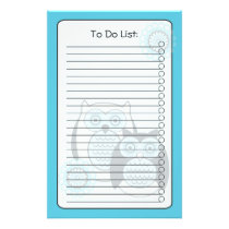 Winter Owls List Stationery