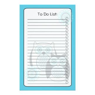 Winter Owls List Stationery